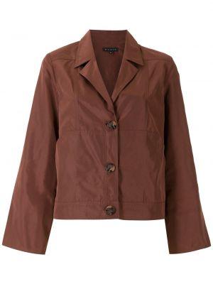 Коричневое длинное пальто с воротником с карманами Alcaçuz