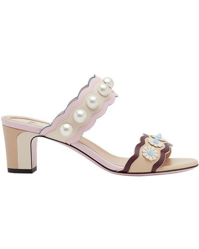 Сандалии на шнуровке на каблуке Fendi