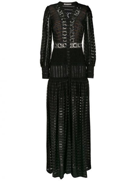 Черное платье макси в полоску с V-образным вырезом Martha Medeiros