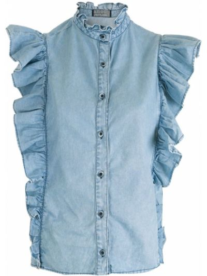 Синяя рубашка с воротником Amapô