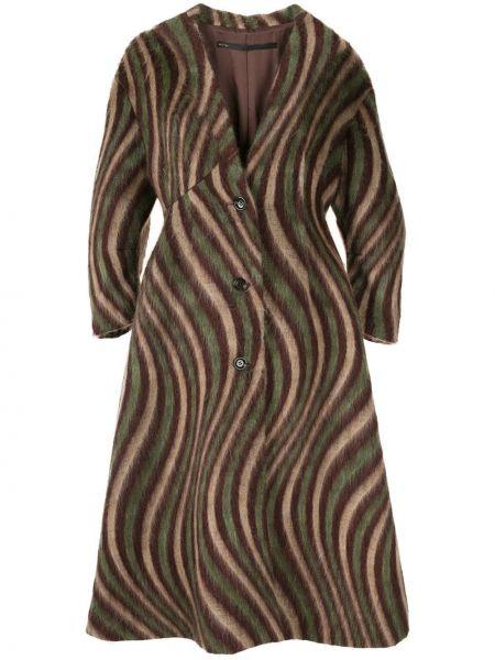 Коричневое шерстяное длинное пальто с капюшоном Muller Of Yoshiokubo