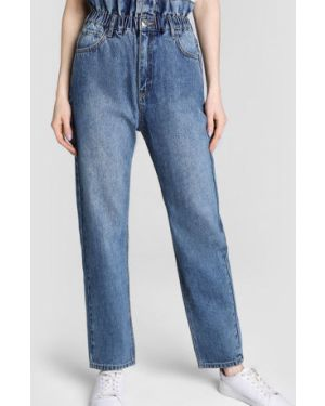 Синие пляжные джинсы с высокой посадкой на резинке на пуговицах Ostin