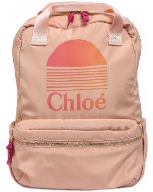 Różowy plecak z nylonu z printem Chloe
