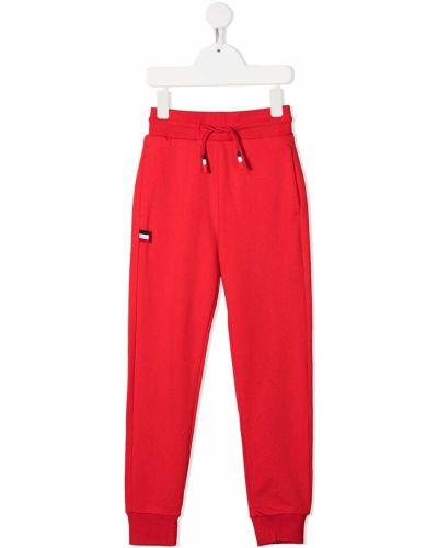 Хлопковые красные спортивные брюки с нашивками с накладными карманами Rossignol Kids