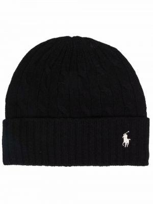 Черная кашемировая шапка Polo Ralph Lauren