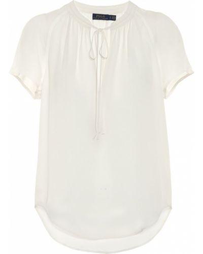 Белый шелковый вечерний топ Polo Ralph Lauren