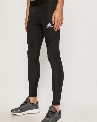 Czarne legginsy z printem dzianinowe Adidas Performance
