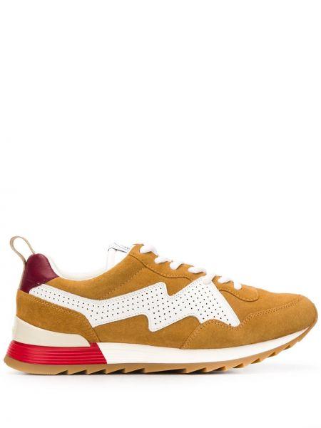 Кожаные кроссовки замшевые с перфорацией Mulberry