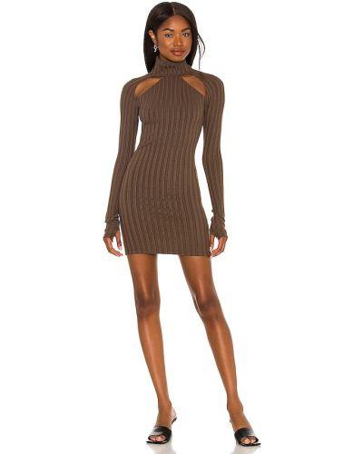 Трикотажное платье мини - коричневое H:ours
