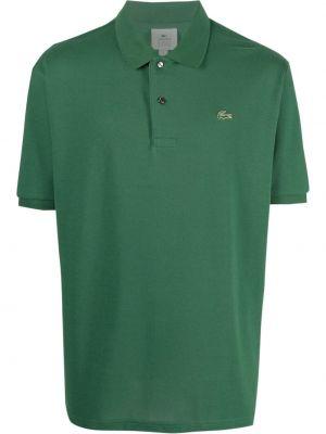 Zielona koszula krótki rękaw bawełniana Lacoste Live