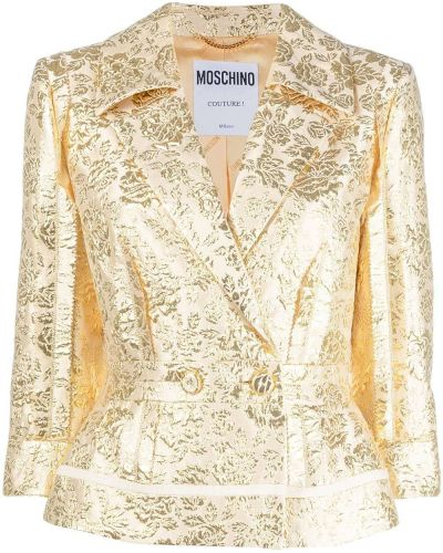 Желтый пиджак двубортный на пуговицах Moschino