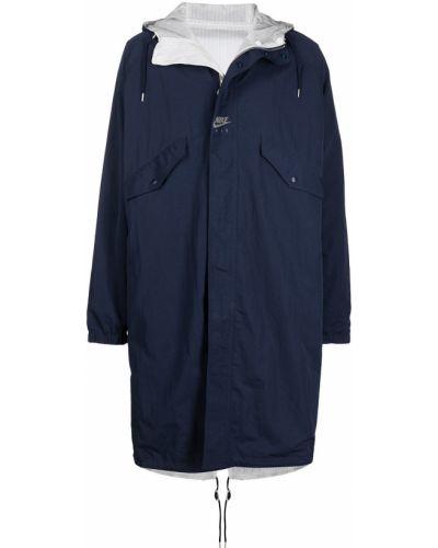 Синяя длинная куртка с капюшоном с длинными рукавами Nike