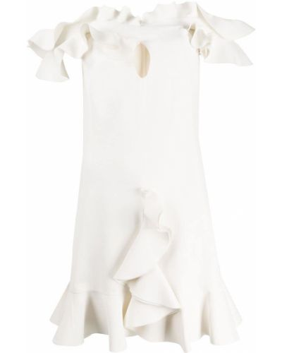Шелковое приталенное платье мини с оборками со спущенными плечами Giambattista Valli