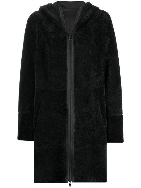 Серое кожаное пальто классическое с капюшоном Arma