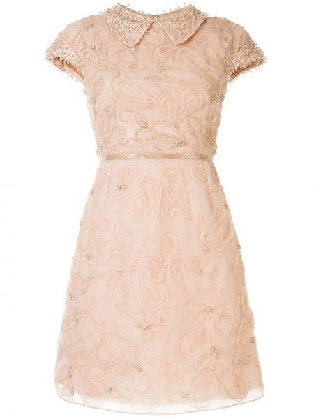 С рукавами коктейльное платье с вырезом на молнии Marchesa