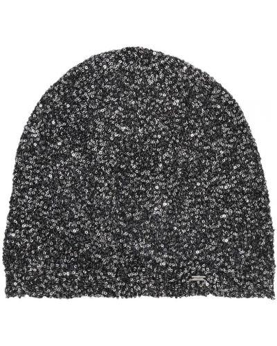 Серебряная шапка с пайетками металлическая Saint Laurent