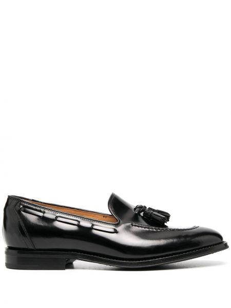 Skórzany czarny loafers na pięcie Churchs