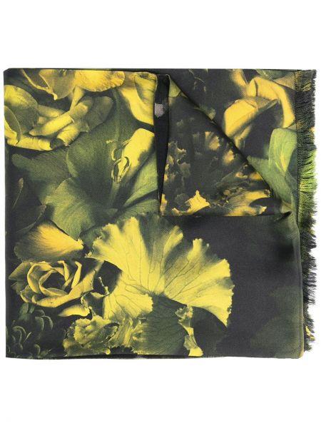 Черный шелковый шарф с опушкой Paul Smith