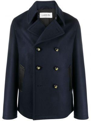 Niebieski płaszcz dwurzędowy wełniany Lanvin