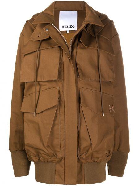Коричневая куртка оверсайз с капюшоном Kenzo