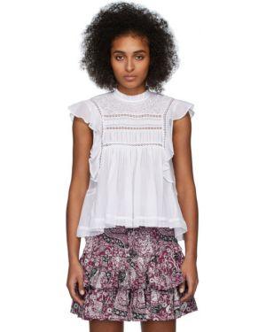 Блузка без рукавов с воротником-стойкой белая Isabel Marant Etoile