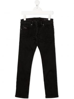 Кожаные черные джинсы классические стрейч Diesel Kids