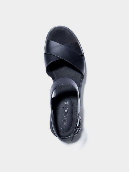 Черные кожаные босоножки с пряжкой Timberland