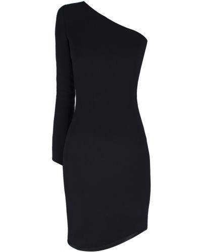Черное платье с длинными рукавами на одно плечо Jay Ahr