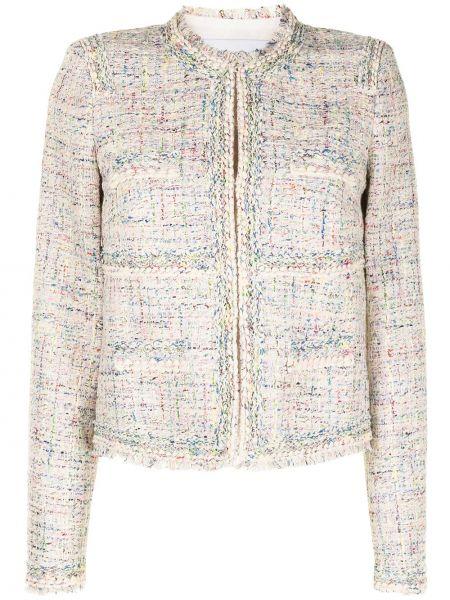 Белый удлиненный пиджак твидовый с вырезом Giambattista Valli