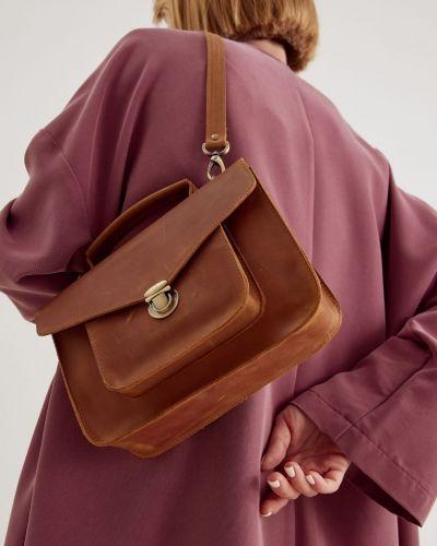 Кожаный портфель черешня