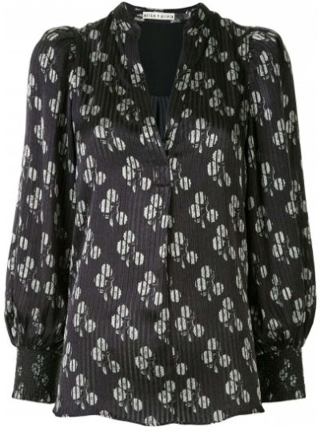 С рукавами черная блузка из вискозы Alice+olivia