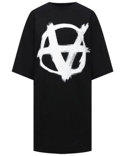Хлопковая футболка - черная Vetements