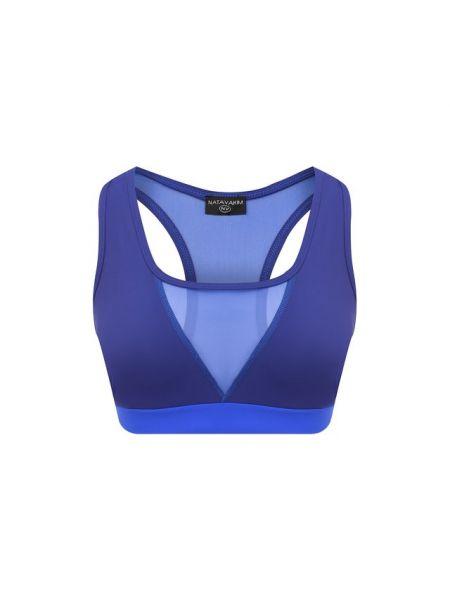 Синий текстильный спортивный топ с поясом со вставками Natayakim