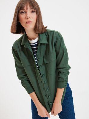 Koszula bawełniana - khaki Trendyol