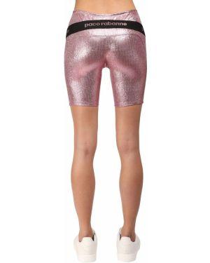 Розовые трикотажные шорты на резинке Paco Rabanne