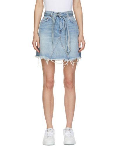 Skórzany światło czarny dżinsowa spódnica z łatami Givenchy