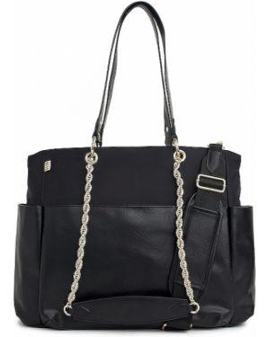 Ciepła czarna torebka na łańcuszku z nylonu Beis