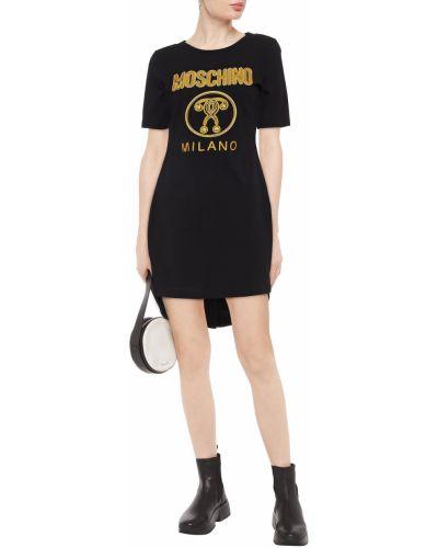 Трикотажное черное платье мини с вышивкой Moschino