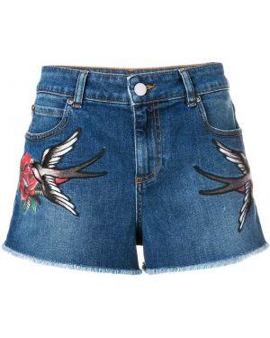 Джинсовые шорты с нашивками - синие Red Valentino