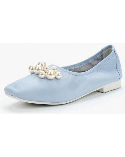 Голубые кожаные балетки Vitacci