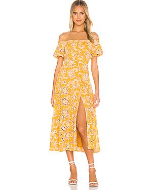 Платье миди с вышивкой с декольте Astr The Label