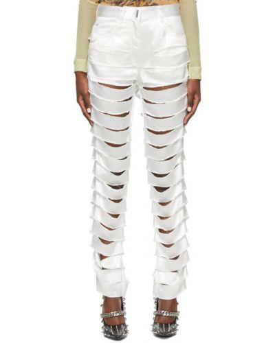 Satynowe białe spodnie z paskiem Givenchy