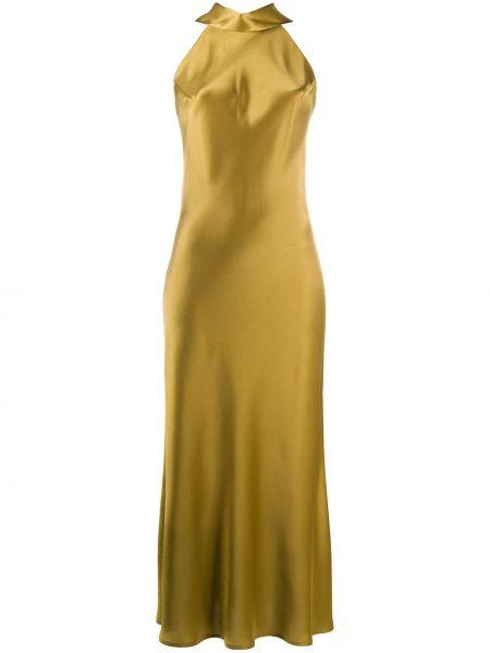 Зеленое платье миди без рукавов с вырезом с воротом халтер Galvan