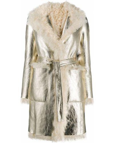 Белое кожаное длинное пальто с поясом Blancha