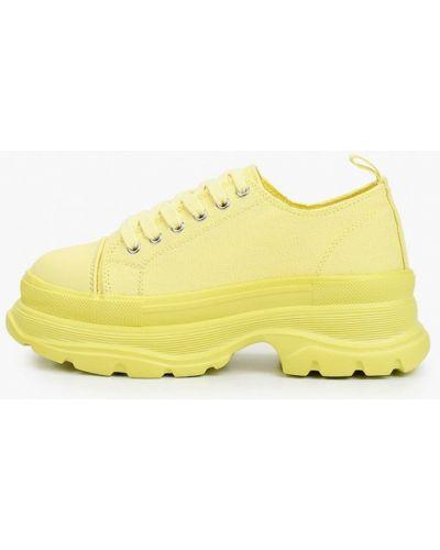 Желтые кожаные кроссовки Escan
