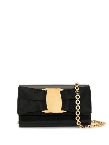 Золотистая черная сумка на цепочке с пряжкой с карманами Salvatore Ferragamo Pre-owned