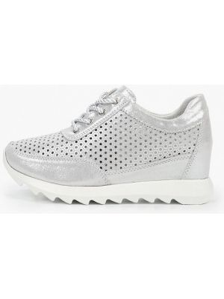 Серебряные кроссовки из натуральной кожи O-live Naturalle