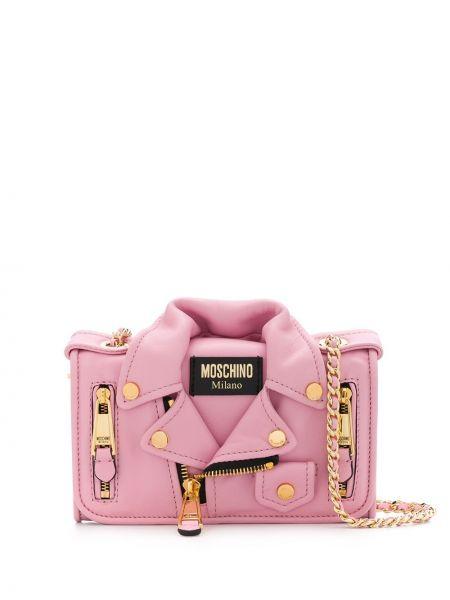 Розовая кожаная куртка на молнии Moschino