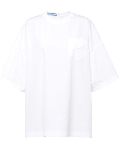 Белая футболка оверсайз Prada