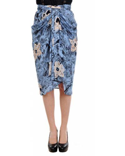 Синяя шелковая юбка Etro